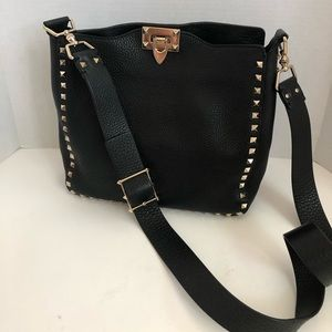 73f7a26480 Valentino. Valentino Vitallo Black Rockstud Cross Body Hobo
